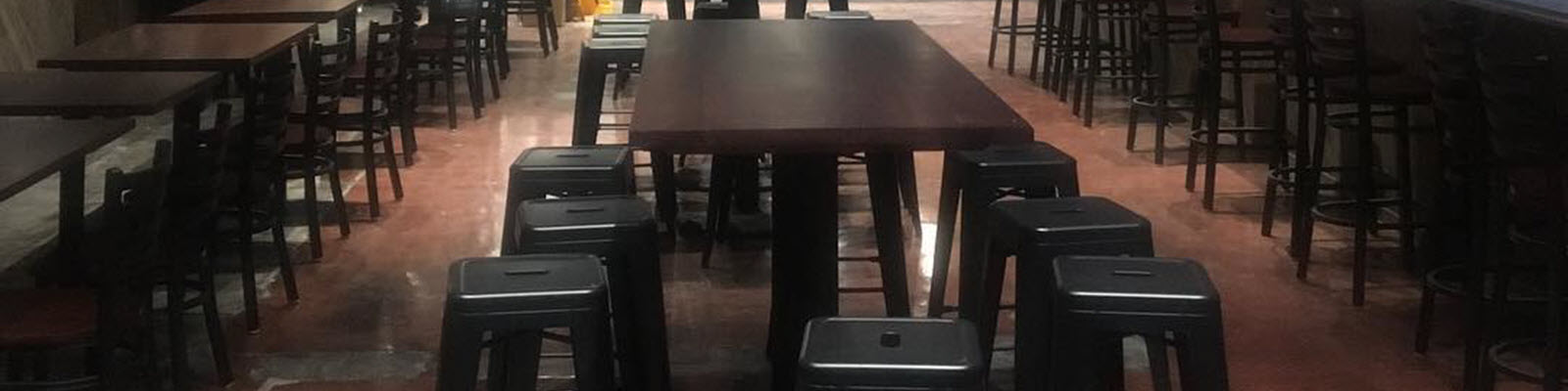 Metal chairs and bar stools