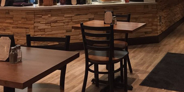 Restaurant metal chairs wood table tops
