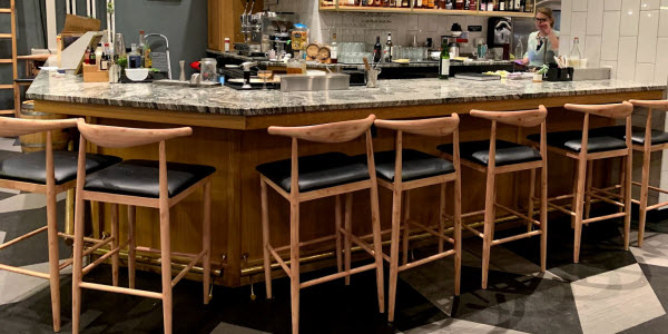 Metal with wood look chairs and bar stools