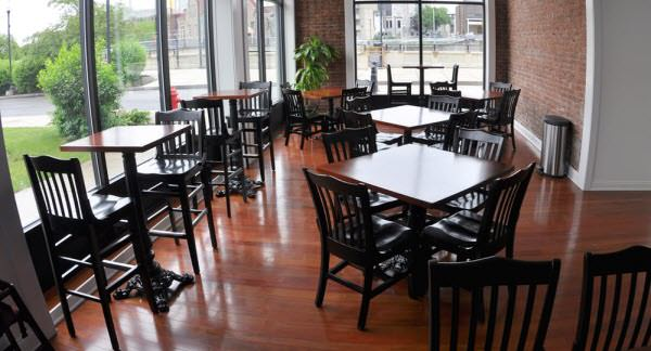 Restaurant bar stools and chairs setting